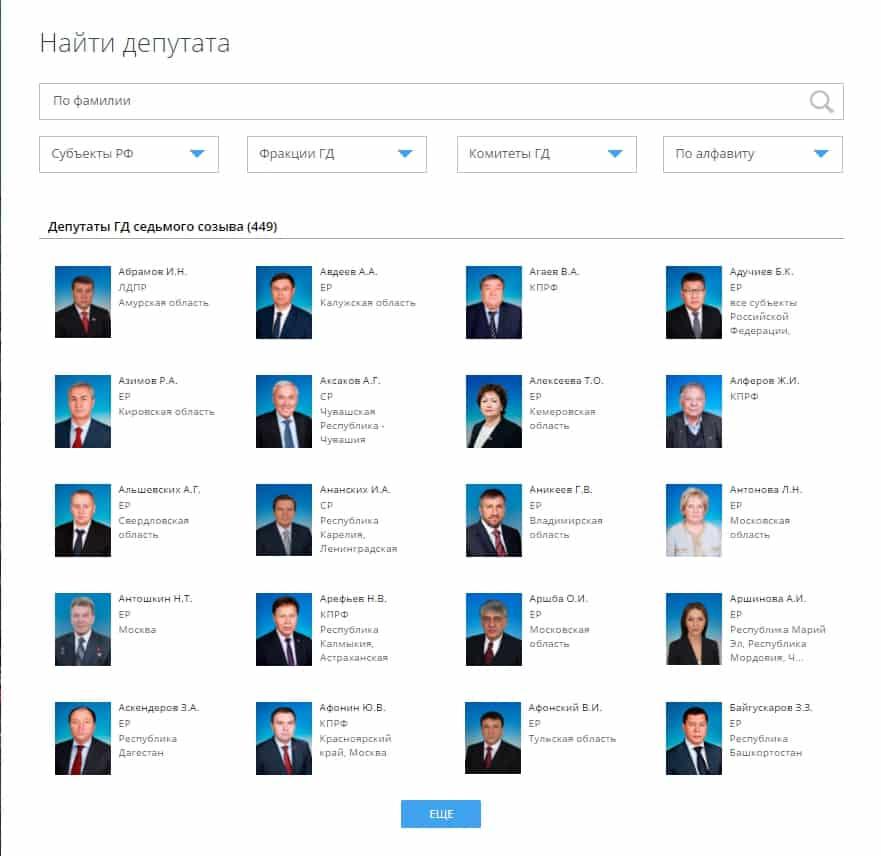 Поиск адресата среди депутатов